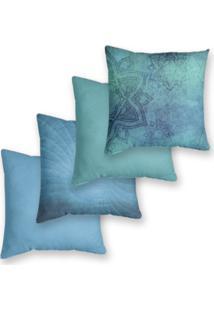 Kit 4 Capas De Almofadas Decorativas Own Azul Serenity 45X45 - Somente Capa