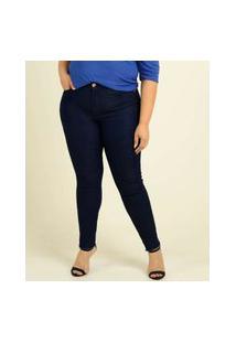 Calça Plus Size Feminina Skinny Bolsos Uber Jeans