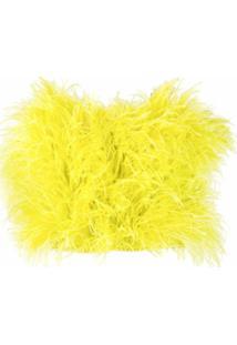 The Attico Blusa Cropped Com Efeito De Plumas - Amarelo