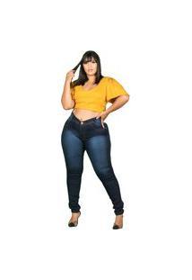 Calça Jeans Com Licra Plus Size Multicolorido
