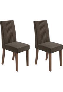 Conjunto De Cadeiras De Jantar 2 Rock Veludo Imbuia E Marrom Escuro