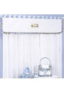 Cortina Quarto De Bebê Amiguinhos Azul 2,00M 7 Peças