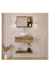Conjunto Para Banheiro Bancada Com Cuba R30 Redonda, Prateleira E Espelheira City 606 Carvalho Dark