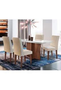Conjunto De Mesa De Jantar Berlim I Com Tampo De Vidro Off White E 4 Cadeiras Grécia Veludo Creme