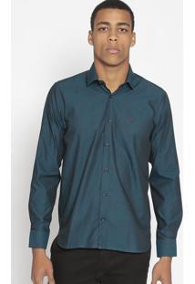 Camisa Slim Fit Com Bordado Da Marca- Azul Escuro & Vermopthy