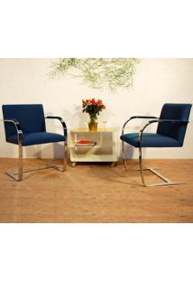 Cadeira Brno - Cromada Suede Azul Escuro - Wk-Pav-14