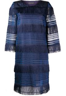 Alberta Ferretti Layered Fringe Dress - Azul