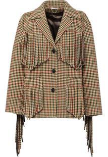Miu Miu Houndstooth Wool Jacket - Green
