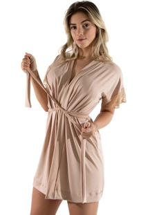 Robe Diluxo Romantic Com Renda Bege