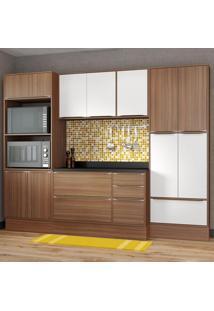 Cozinha Compacta 13 Portas C/ Tampo E Rodapé 5452R Branco/Nogueira - Multimóveis