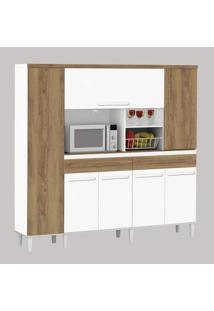 Armário De Cozinha Completo Marisa 1,70M Branco Brilho Com Canelato Trinobél Móveis