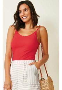Blusa Vermelha Canelada Decote V Malwee