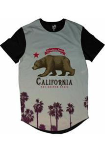 Camiseta Longline Long Beach Urso California Sublimada Masculina - Masculino
