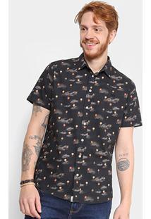 Camisa Triton Manga Curta Estampada Masculina - Masculino-Preto