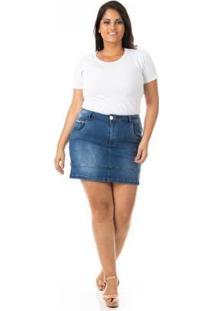 Saia Curta Jeans Com Barra E Lycra Plus Size Confidencial Extra Feminina - Feminino-Azul