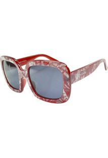 Óculos De Sol Mackage Feminino Acetato Oversize Oversize - Vermelho Marmorizado
