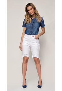 Bermuda Jeans Zait Meia Coxa Color Mayla Com Barras Desfiada Branco