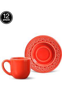 Conjunto 12Pçs Xícaras De Café Porto Brasil Cestino Vermelho
