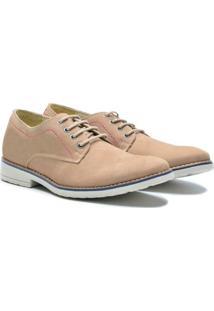 Sapato Casual Couro Pórtice Masculino - Masculino-Bege
