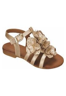 Sandália Em Couro Com Flores - Perola