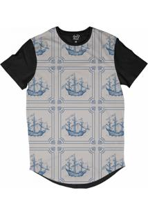 Camiseta Longline Long Beach Náutica Retrô Sublimada Bege