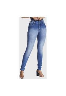 Calça Jeans Zuren Skinny Estonada Used Azul
