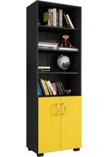 Estante Livreiro 6 Prateleiras Office Preto E Portas Pequenas Amarelas Móveis Leão