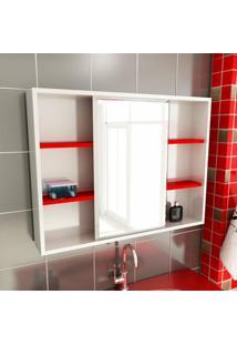 Espelheira De Banheiro 22 Retangular 80 Cm Branco & Vermelho
