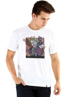 Camiseta Ouroboros Manga Curta Joker, O Palhaço - Masculino-Branco