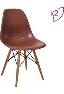 Jogo De Cadeiras Com 4 Pã©S- Cafã© & Madeira- 2Pã§Sor Design