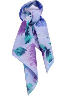 Lenço Smm Acessorios Na Latinha Floral Azul Pastel