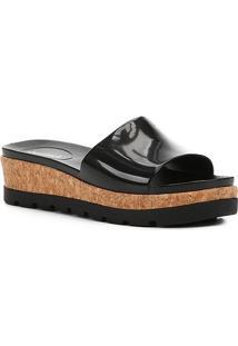 Sandália Flatform Shoestock Slide Cortiça Feminina - Feminino-Preto