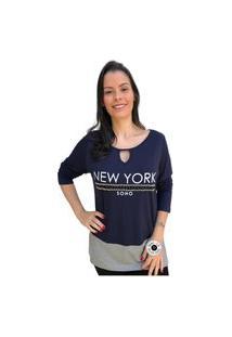 Blusa Feminina Mac-Lu T-Shirt New York Estampada Linha Premium Azul Marinho Live Com Cinza Silver