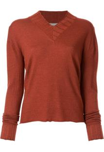 Suzusan V-Neck Knitted Jumper - Laranja