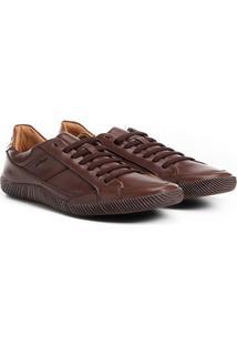 Sapatênis Couro Shoestock Cadarço Elástico Masculino - Masculino-Café