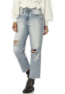 Calça Mom Em Jeans Jeans Médio