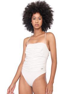 Body Colcci Drapeado Branco - Branco - Feminino - Poliã©Ster - Dafiti