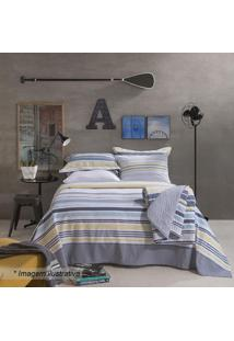 Jogo De Cama Home Design Queen Size- Azul Escuro & Amaresantista