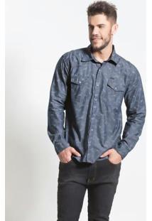 Camisa Jeans Estampada Bolsos Frontais Actual