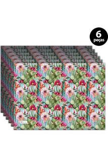 Jogo Americano Mdecore Floral 40X28 Cm Azul 6Pçs
