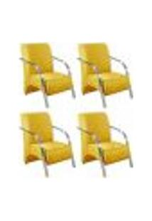Kit 4 Poltronas Decorativas 1 Lugar Vênus Braço Pé Alumínio Confortável Sala Tv D Salla Suede Amarelo