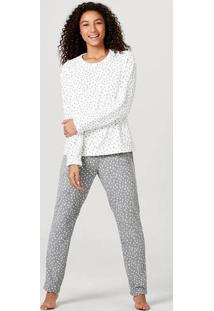 Pijama Feminino Em Fleece De Poliéster