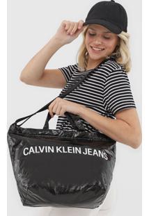 Bolsa Calvin Klein Lettering Preta - Preto - Feminino - Dafiti