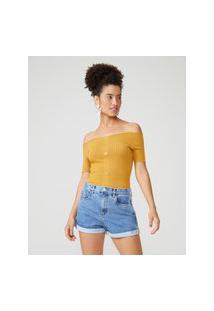 Amaro Feminino Blusa Ombro A Ombro Tricot Botões, Amarelo Ouro