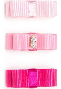 Laço C/ Velcro Em Gorgurão Rosa/Pink - Roana Lve00060 Kit: 3 Laços Adesivos Rosa/Pink