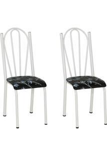 Conjunto 2 Cadeiras Mnemósine Branco E Preto Flor