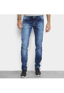Calça Jeans Skinny Coffee Estonada Masculina - Masculino-Azul