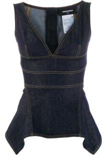 Dsquared2 Blusa Jeans Peplum - Azul