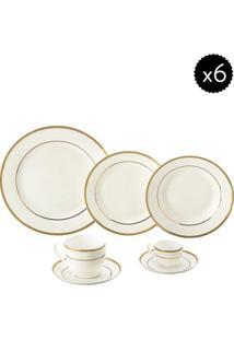 Aparelho De Jantar De Porcelana- Branco & Dourado- 4Wolff