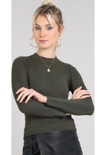 54932a5c8d ... Blusa Feminina Básica Em Tricô Manga Longa Verde Militar